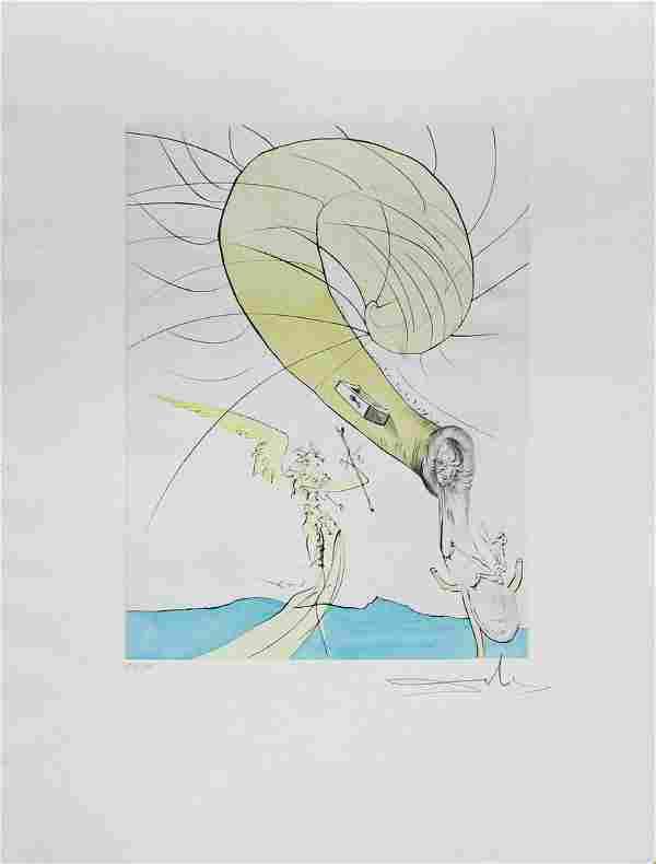 """Salvador Dali- Hand Colored Original Etching """"Freud"""