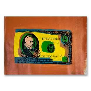 "Steve Kaufman (1960-2010) ""50 Dollar Bill"" Hand Signed"