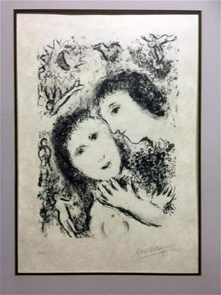 "Marc Chagall Lithograph ""Jacob and Rachel"""