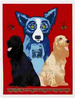"George Rodrigue Original silkscreen on paper ""Blue Dog"""