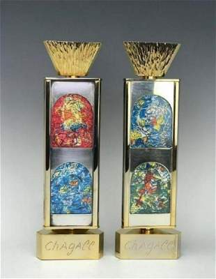 Marc Chagall  Pair of 24 K Gold Plated and Silver