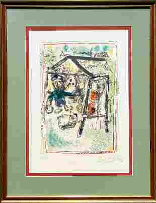 "Marc Chagall  Lithograph on paper  ""The Artist and the"