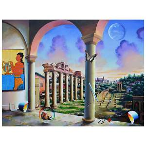 """Ferjo, """"Ancient Times"""" Original Painting on Canvas,"""