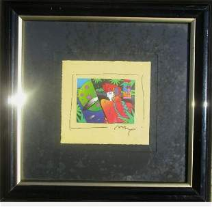 """Peter Max Mixed Media on paper """"Male Profile"""""""