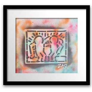 """E.M. ZAX Original one of a kind on paper """"Hommage to"""
