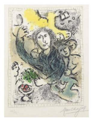 "MARC CHAGALL Lithograph in colors ""The Artist II (M."