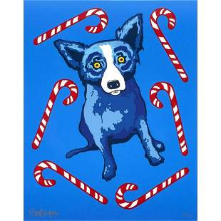 "George Rodrigue screenprint ""Blue Dog with Candy Canes"""