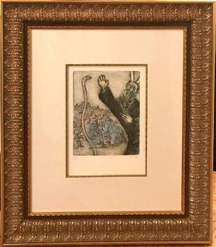 Marc Chagall Original etching with watercolor on Arches