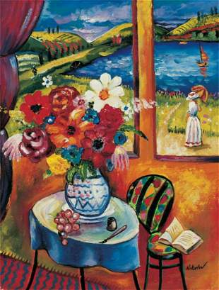 "Oleg Nikulov- Original Giclee on Canvas ""Flower Vase"