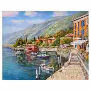 """Sam Park, """"Lake Como Villa"""" Hand Embellished Limited"""