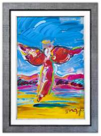 "Peter Max- Original Mixed Media ""Ascending Angel"""