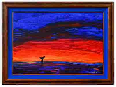 """Wyland- Original Painting on Canvas """"Asbstract"""""""