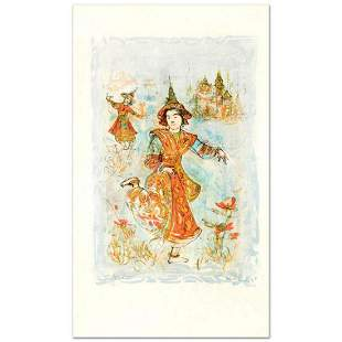 """""""Thai Dancers"""" Limited Edition Lithograph by Edna Hibel"""