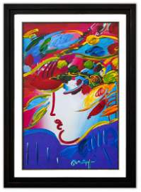 "Peter Max- Original Mixed Media ""Blushing Beauty"""