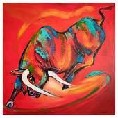 "Alfred Gockel, ""Coloured Bull"" Hand Signed Limited"