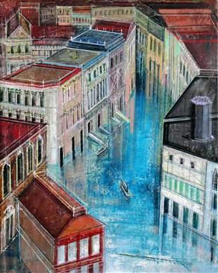 """Alex Zwarenstein """"Jewel Canal"""" Giclee on Canvas"""
