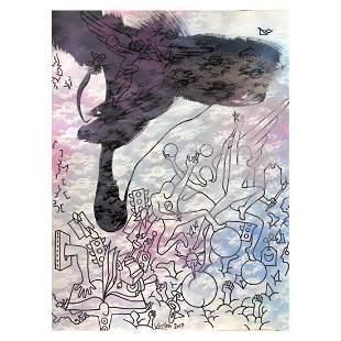 "Mark Kostabi ""Index In The Clouds"" Hand Signed Original"