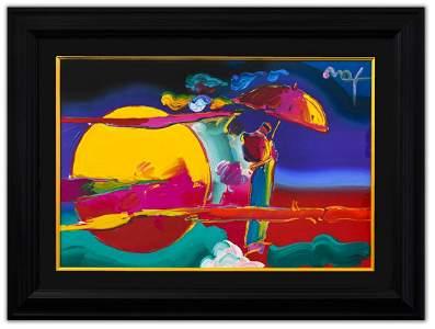 """Peter Max- Original Mixed Media """"New Moon"""""""