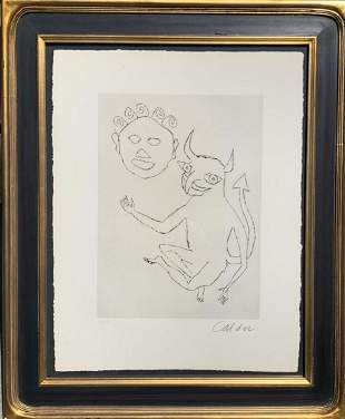 "Alexander Calder Original etching on paper ""Santa Claus"