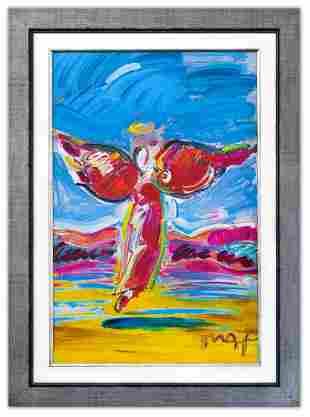 """Peter Max- Original Mixed Media """"Ascending Angel"""""""