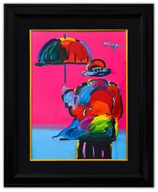 """Peter Max- Original Mixed Media """"Umbrella Man"""""""
