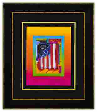 """Peter Max- Original Lithograph """"Flag with Heart on"""