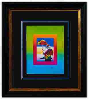 "Peter Max- Original Lithograph ""Umbrella Man on Blends"""