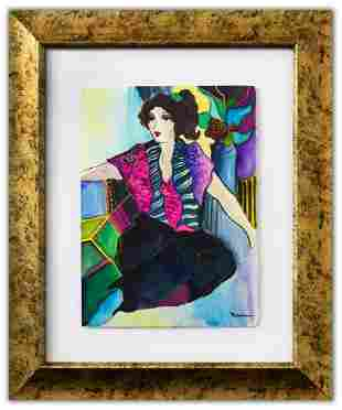 "Patricia Govezensky- Original Watercolor ""Bruna"""