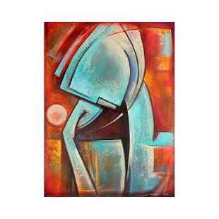 """Juan Cotrino, """"Deep Thought"""" Original Mixed Media"""