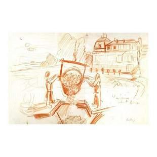 "Wayne Ensrud ""Harvest at La Mission Haut-Brion"" Pastel"