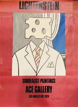 """Roy Lichtenstein Offset Lithograph """"Ace gallery """""""