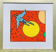 """Peter Max serigraph on paper """"Angel With Sun"""""""
