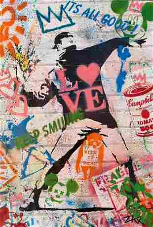 """E.M. Zax Mixed media with Paint and Stencil """"Banksy"""