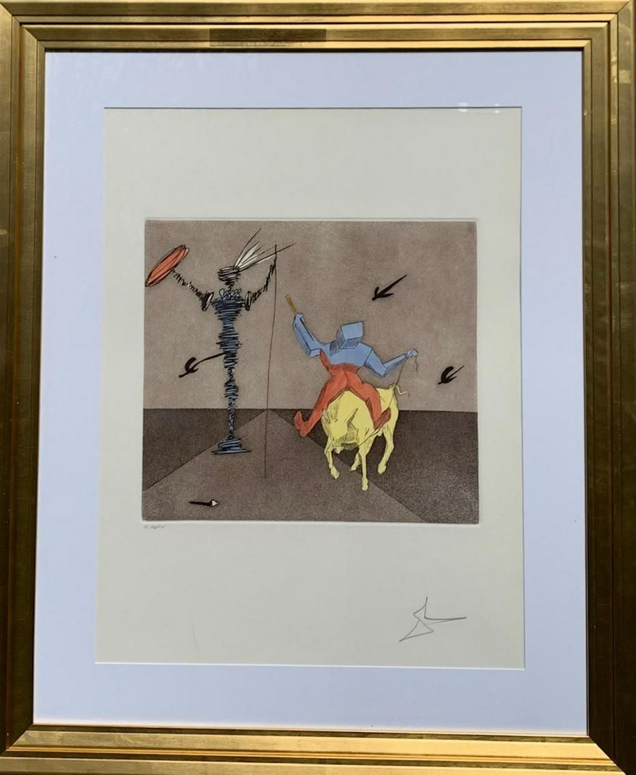 """Salvador Dali Etching on Paper """"Master and Squire"""""""