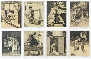 """Norman Rockwell (1894-1978) lithograph (Set of 8) """"Tom"""