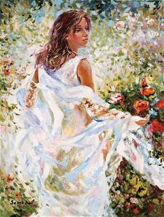 "Igor Semeko- Original Giclee on Canvas ""Lady in White"