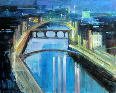 """Alex Zwarenstein """"Dublin by Night"""" Giclee on Canvas"""