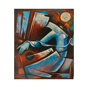 "Juan Cotrino, ""Lady and Strings"" Original Mixed Media"