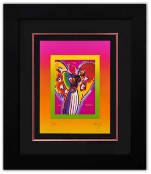 """Peter Max- Original Lithograph """"Angel with Hearts on"""