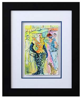 "Patricia Govezensky- Original Watercolor ""Sunny Day in"