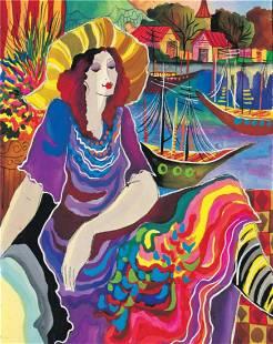 "Patricia Govezensky- Original Giclee on Canvas ""Lady by"