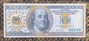 "E.M. Zax Acrylic on Canvas ""$100 bill"""
