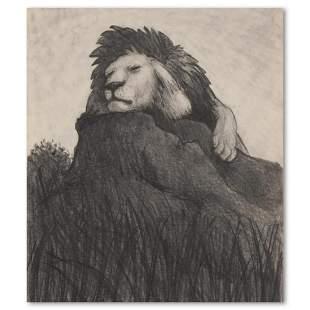 "Charles Lynn Bragg, ""Cat Nap"" Original Pencil Drawing,"