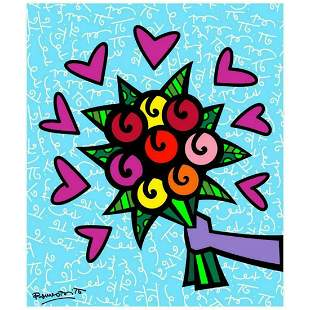 """Romero Britto """"Thank You"""" Hand Signed Limited Edition"""