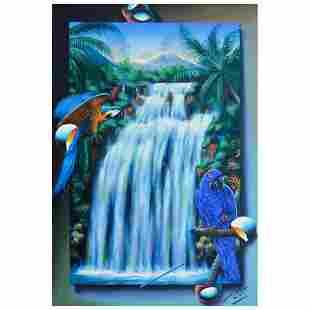 "Ferjo, ""Brazilian Waterfall"" Original Painting on"
