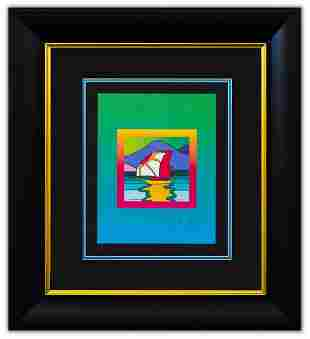 """Peter Max- Original Lithograph """"Sailboat East on Blends"""