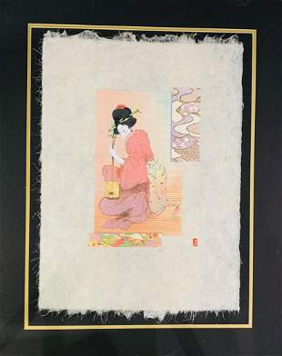 Mikulas Kravjansky Lithograph on hand made rice paper