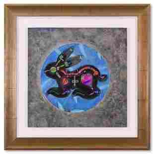"Lu Hong, ""Chinese Zodiac - Rabbit (1993)"" Framed"