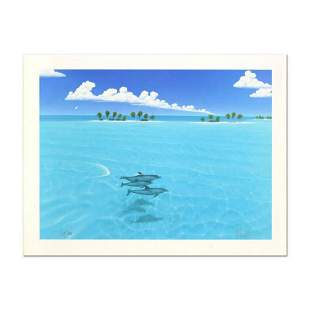 """Dan Mackin, """"Dolphin Trio"""" Hand Signed Lithograph from"""