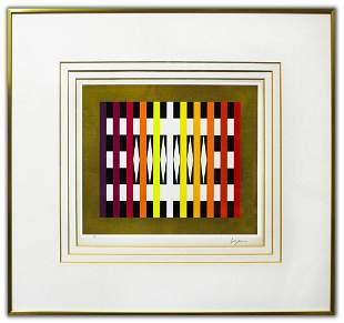 """Yaacov Agam- Original Lithograph """"White rhombs"""""""